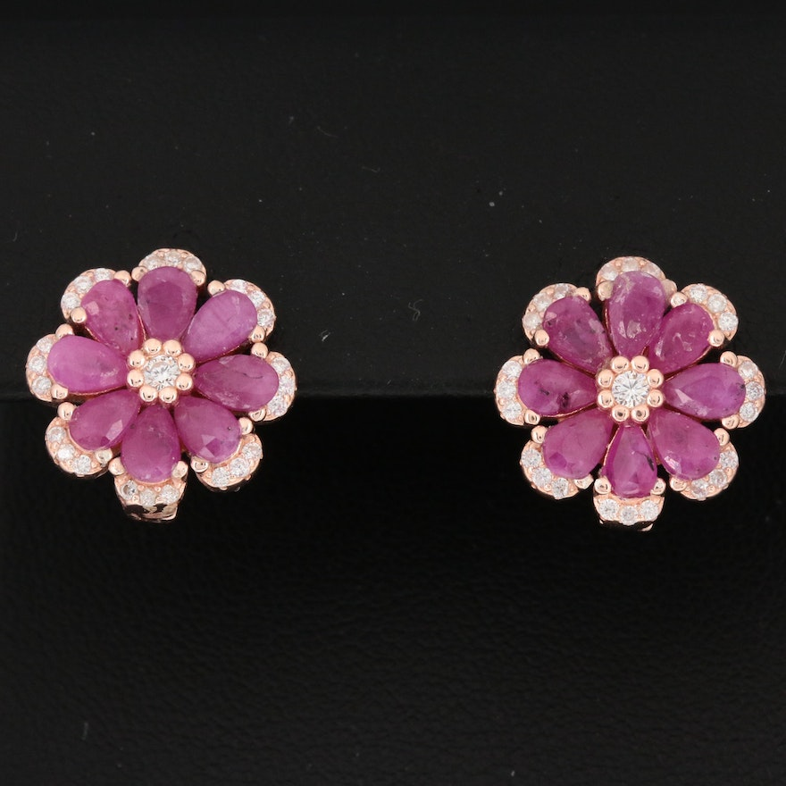 Sterling Silver Ruby and Cubic Zirconia Flower Earrings