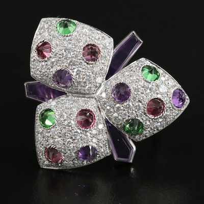"""Cartier """"Caresse d'Orchidées"""" 18K White Gold Gemstone and 1.60 CTW Diamond Ring"""