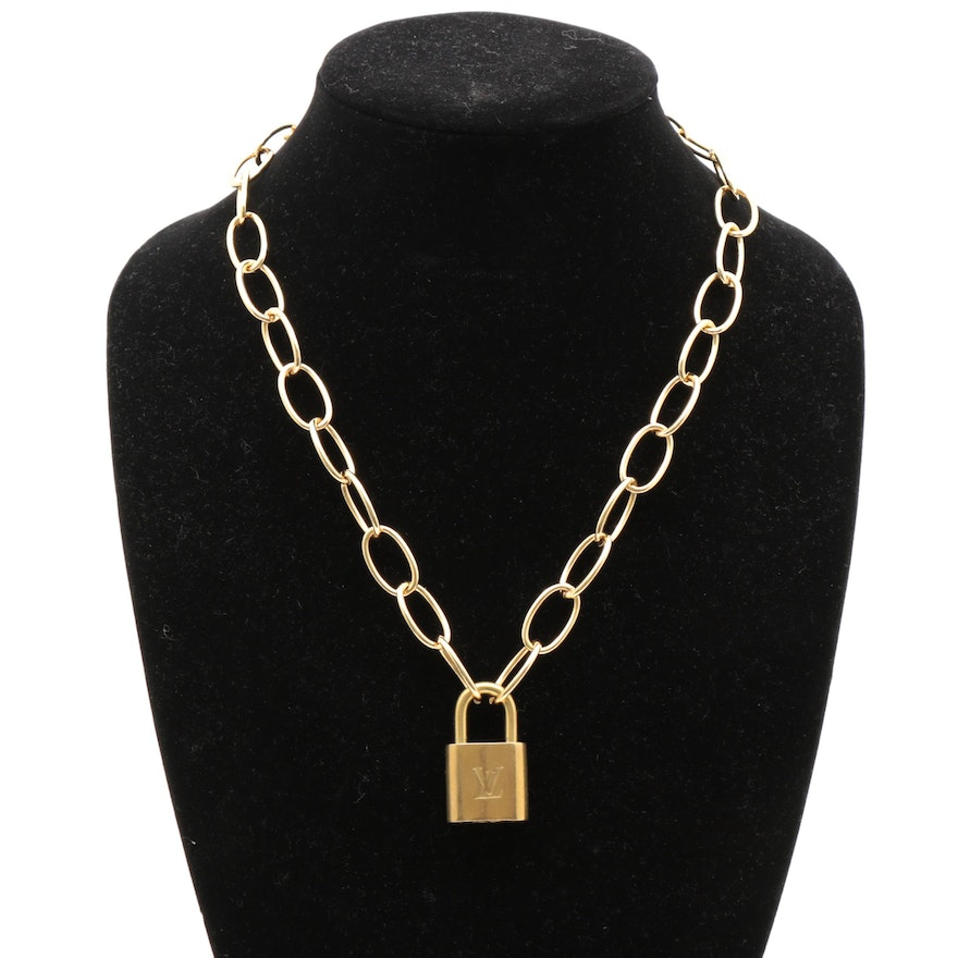 Louis Vuitton Lock on Cable Chain Necklace