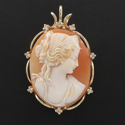 Vintage 14K Helmet Shell Cameo Converter Brooch with Diamond Accents