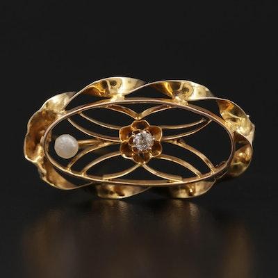 Circa 1910 10K Yellow Gold Diamond and Seed Pearl Openwork Brooch