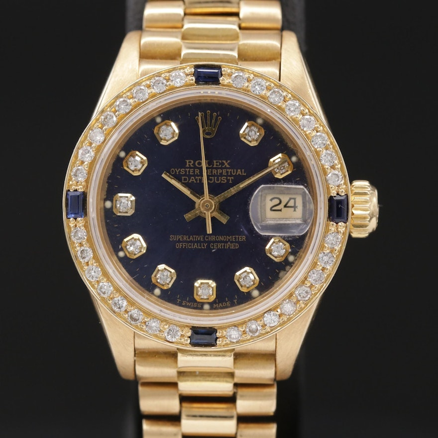 Rolex Datejust Presidential 18K Gold Diamond and Sapphire Wristwatch, Circa 1986