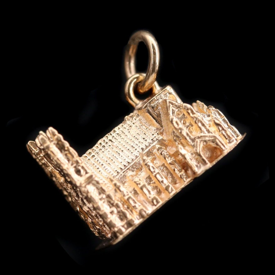 9K Yellow Gold Westminster Abbey Charm