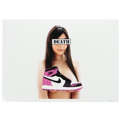 Death NYC Pop Art Offset Lithograph of Woman with Nike Sneaker