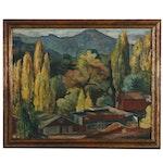 Walter Barron Currier Landscape Oil Painting, 1933
