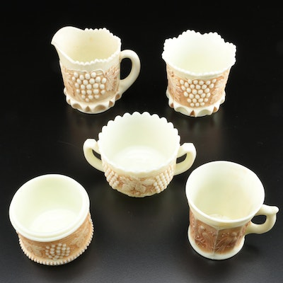 """Northwood """"Grape and Cable"""" and """"Singing Birds"""" Custard Glass Table Accessories"""