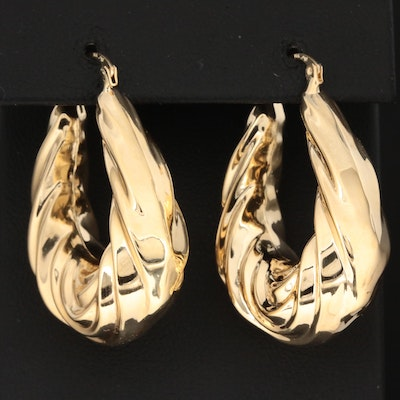 Michael Anthony 14K Yellow Gold Fluted Elongated Hoop Earrings