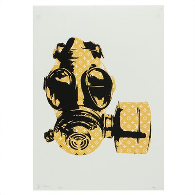 Death NYC Pop Art Offset Lithograph of Louis Vuitton Gas Mask