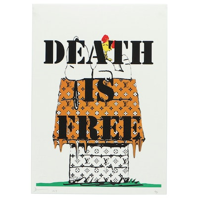 "Death NYC Pop Art Print of Snoopy ""Death is Free"""