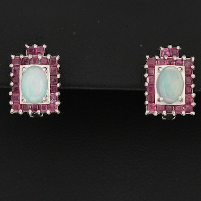 Sterling Silver Ruby and Opal Earrings
