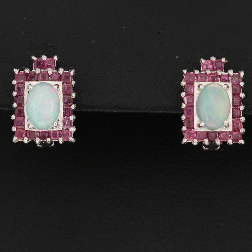 Sterling Silver Ruby and Opal Earrings