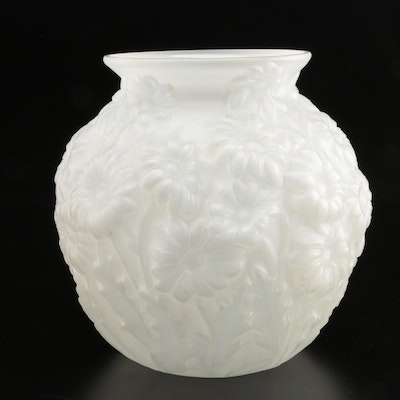 Early American Frosted Pressed Glass Floral Vase