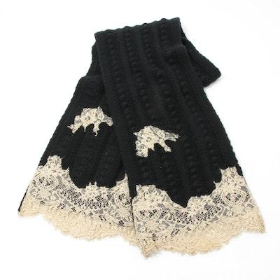 Valentino Garavani Lace Trimmed Cashmere Knit Scarf