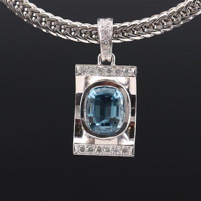 18K White Gold Aquamarine and Diamond Pendant Necklace
