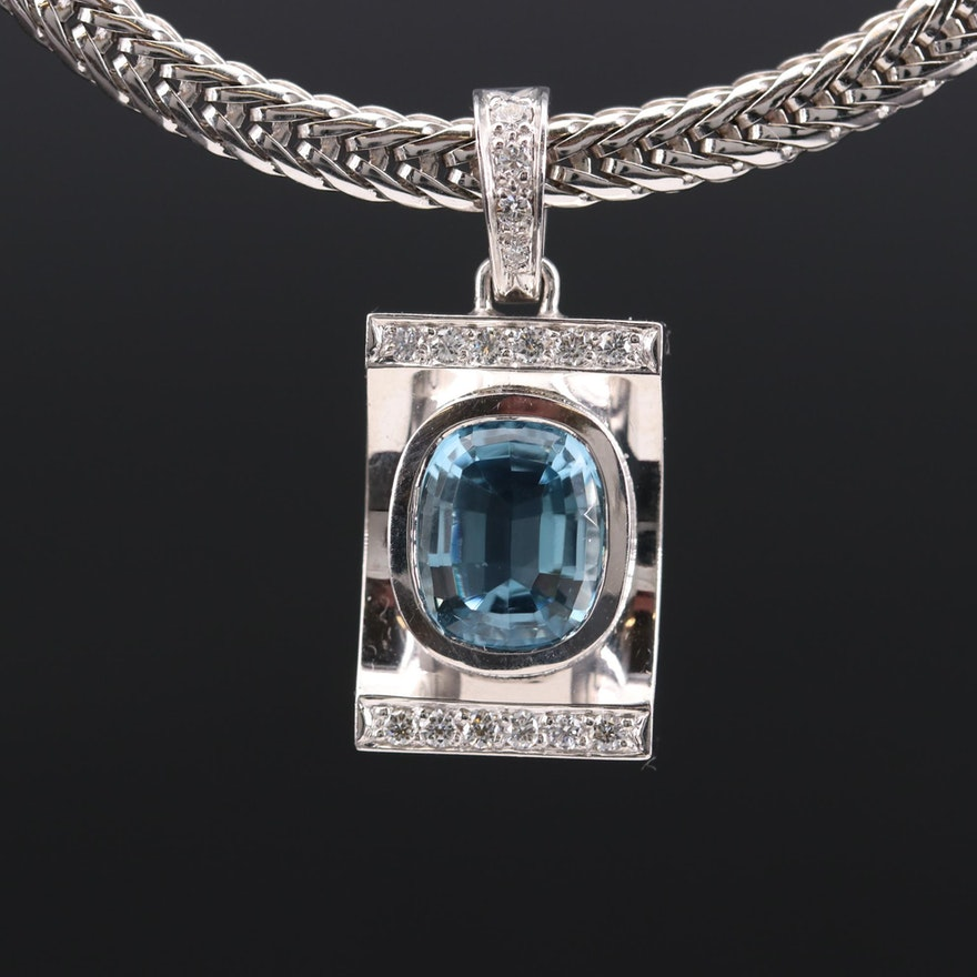 18K White Gold Aquamarine and Diamond Pendant Necklace