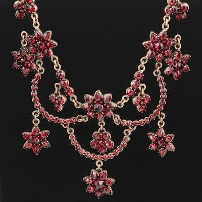 Antique Garnet Festoon Necklace