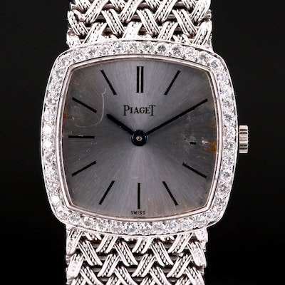 Vintage Piaget 18K White Gold and Diamond Stem Wind Wristwatch
