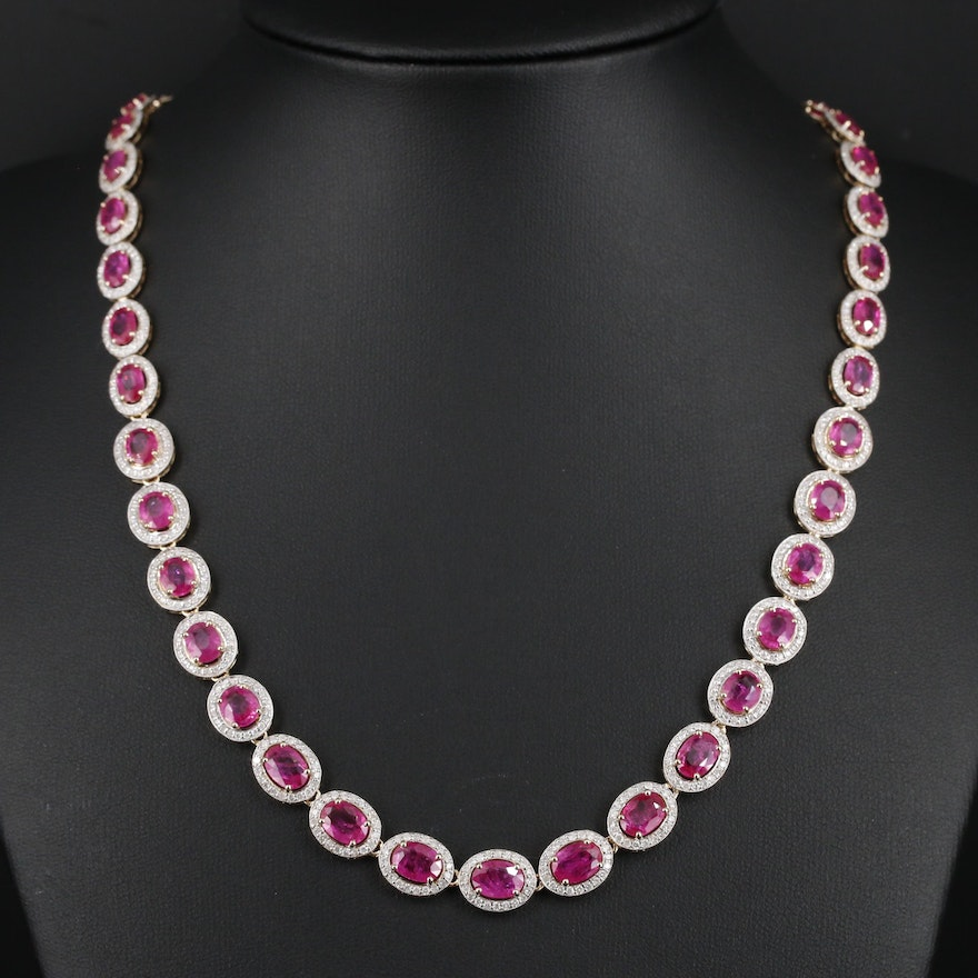 14K Yellow Gold Oval Ruby and 4.02 CTW Diamond Graduated Necklace