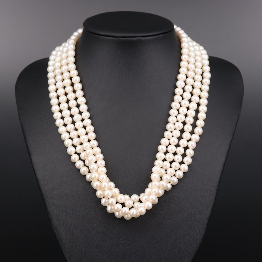 Hand Knotted Cultured Pearl Multi-Strand with Sterling Silver Clasp