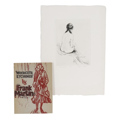 "Frank Martin Etching ""Nude Back"" with Woodcut Booklet"