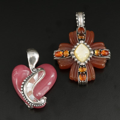 Carolyn Pollack for Relios Sterling Pendants Including Quartz and Carnelian