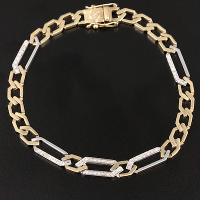 14K Yellow and White Gold Diamond Figaro Chain Bracelet