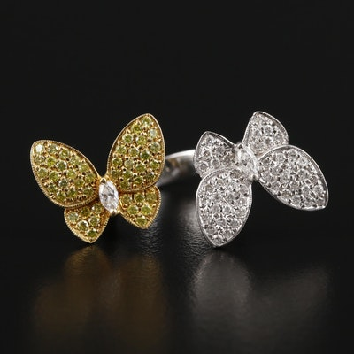 18K White and Yellow Gold 1.00 CTW Diamond Pavé Butterfly Ring
