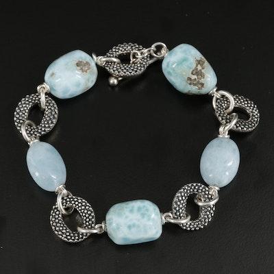 Michael Dawkins Sterling Silver Larimar and Aquamarine Link Bracelet