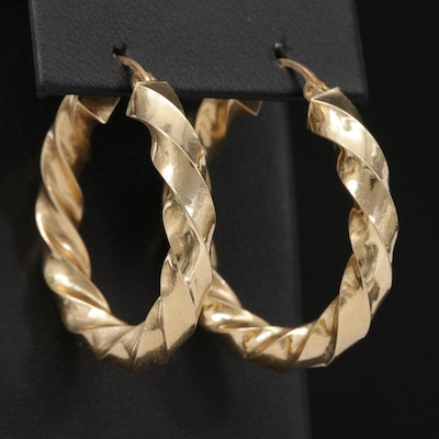 14K Twisted Yellow Gold Hoop Earrings