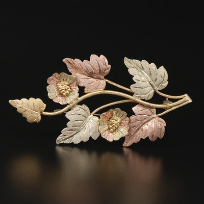 Vintage 12K Yellow, Green and Rose Gold Floral Brooch