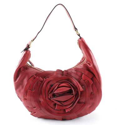 Valentino Garavani Red Rose Lambskin Leather Shoulder Bag