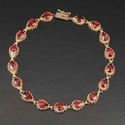 14K Yellow Gold Garnet Bracelet