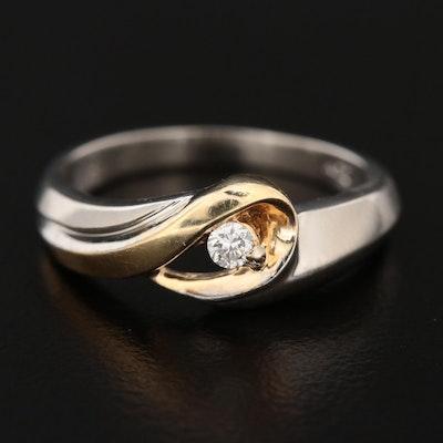 14K White and Yellow Gold Diamond Ring