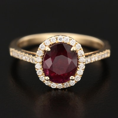 14K Yellow Gold 1.21 CT Ruby and Diamond Ring with GIA Report