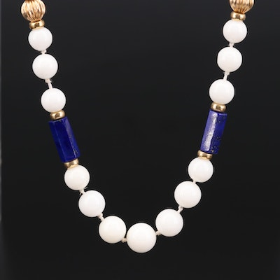 14K Yellow Gold Lapis Lazuli and White Agate Beaded Necklace