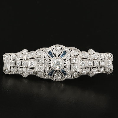Edwardian Platinum 1.96 CTW Diamond and Sapphire Brooch with 14K Gold Accents