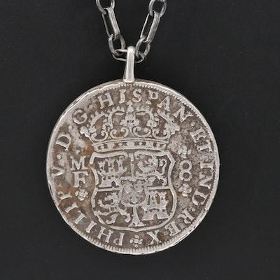 Sterling Necklace with Antique 1739 Spanish Colonial Reales 900 Silver Coin