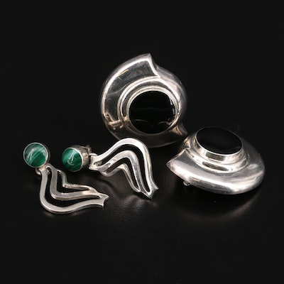 Mexican Sterling Silver Malachite and Imitation Black Onyx Earrings