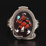 Arlinda Rose Pinto Zuni Sterling Silver Figural Mosaic Cuff Bracelet