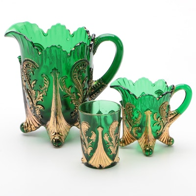 "Northwood ""Inverted Fan and Feather"" Green Glass Pitcher, Creamer, and Tumbler"