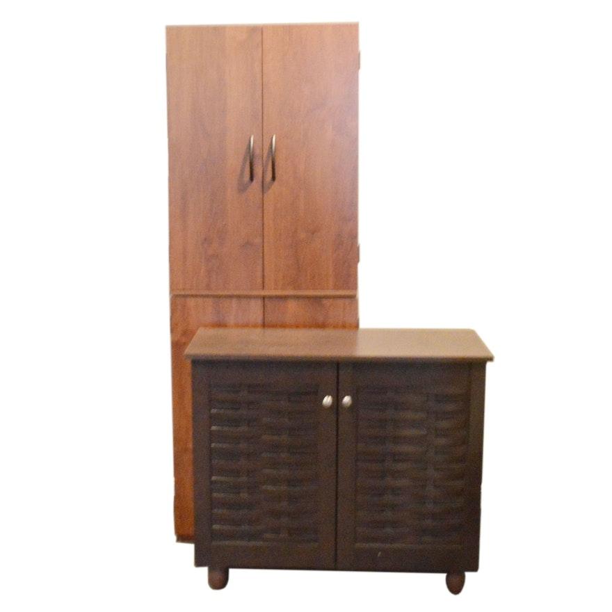 Dark Brown Woven Door Console and Storage Cabinet