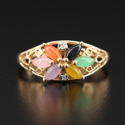 14K Yellow Gold Jadeite and Diamond Flower Ring