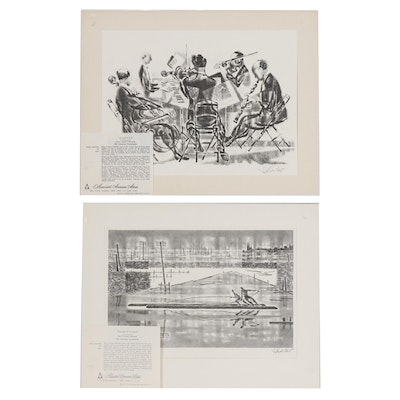 "Georges Schreiber Lithographs ""Loggers at Sunrise"" and ""Quintet"""