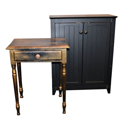 Black Panel Cabinet and Black and Gold Tone Stained End Table
