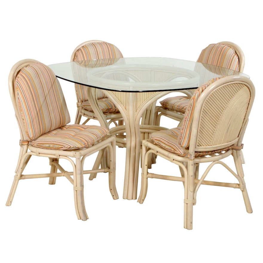 Painted Rattan Patio Table and Chair Set in the Style of Ficks Reed