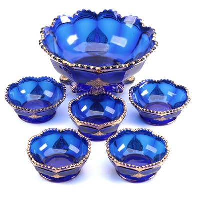 "Northwood ""Regent"" Cobalt Blue Glass Berry Bowl Set For Five"