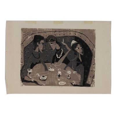 "Evelyn Marx Woodcut ""Meet Me for Lunch"", 1957"