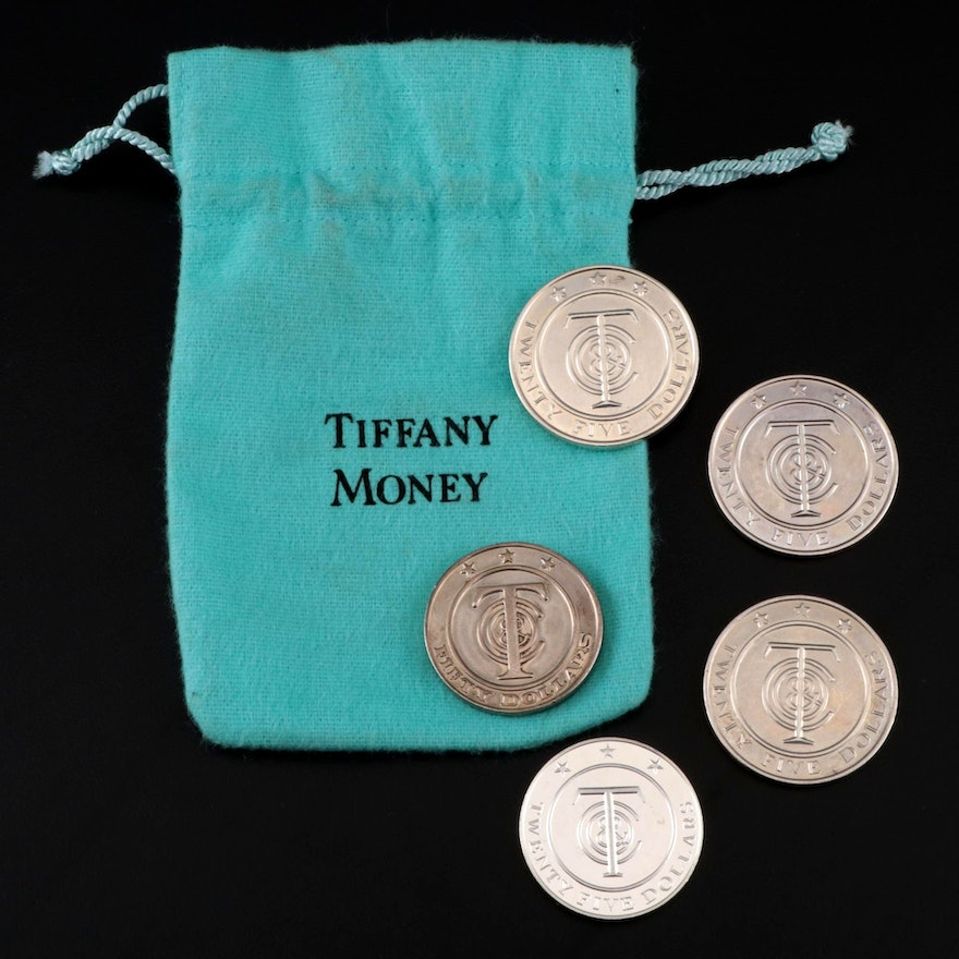 """Tiffany & Co. """"Tiffany Money"""" Sterling $25 and $50 Tokens"""
