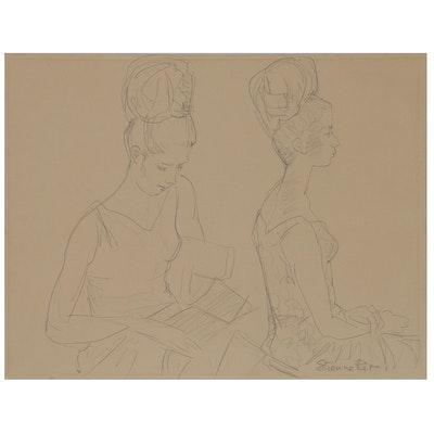"Etienne Ret Graphite Drawing ""Liseuse"", 1966"
