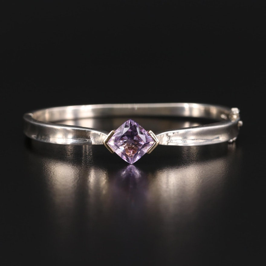Sterling Silver Amethyst Hinged Bracelet with 18K Gold Accents
